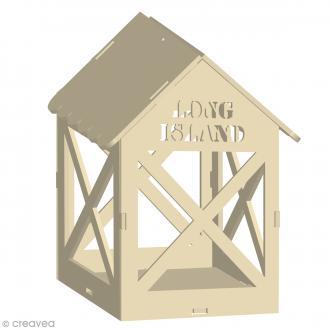 Lanterne Long Island à décorer en bois - 13 x 15,5 cm