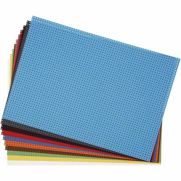 Carton point de croix 23 x 33 cm - Assortiment de couleurs - 10 feuilles - Photo n°1