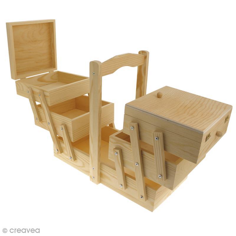 boite couture d corer en bois 32 x 16 x 29 cm boite rangement couture creavea. Black Bedroom Furniture Sets. Home Design Ideas