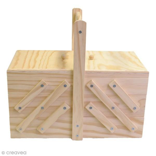 Boite à couture à décorer en bois - 32 x 16 x 29 cm - Photo n°4