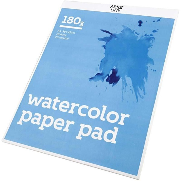 Bloc de papier aquarelle, A3 297x420 mm, 180 gr, 20 flles, blanc - Photo n°1