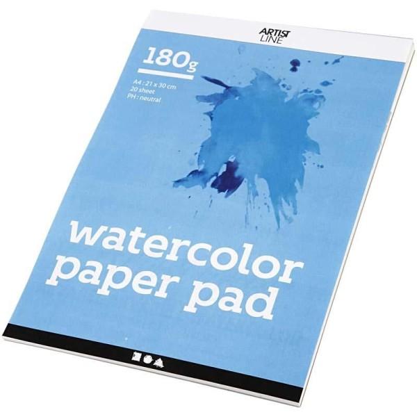 Bloc de papier aquarelle, A4 210x297 mm, 180 gr, 20 flles, blanc - Photo n°1
