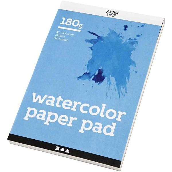 Bloc de papier aquarelle - A5 14,8 x 21 cm - 20 feuilles - Photo n°1