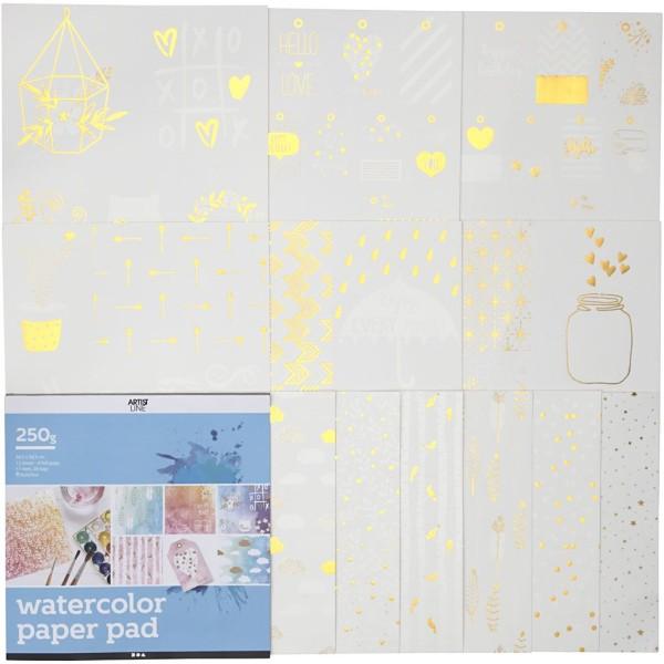 Bloc de papier à motifs dorés pour Aquarelle - 30,5 x 30,5 cm - 12 feuilles - Photo n°1