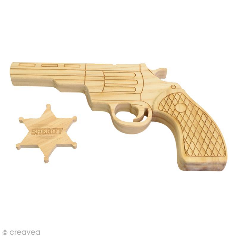 Pistolet et étoile à décorer en bois - 21 x 12 x 2 cm - Photo n°1