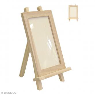 Cadre et chevalet à décorer en bois - 12 x 17 cm