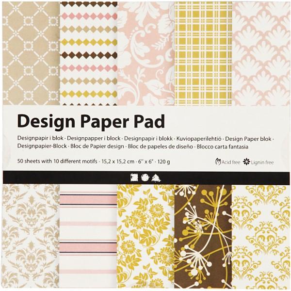 Papier scrapbooking Design - Rose et or - 15 x 15 cm - 50 feuilles - Photo n°1