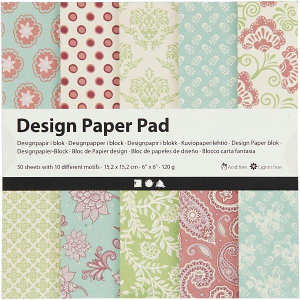 Papier scrapbooking Design - Bleu et vert - 15 x 15 cm - 50 feuilles - Photo n°1