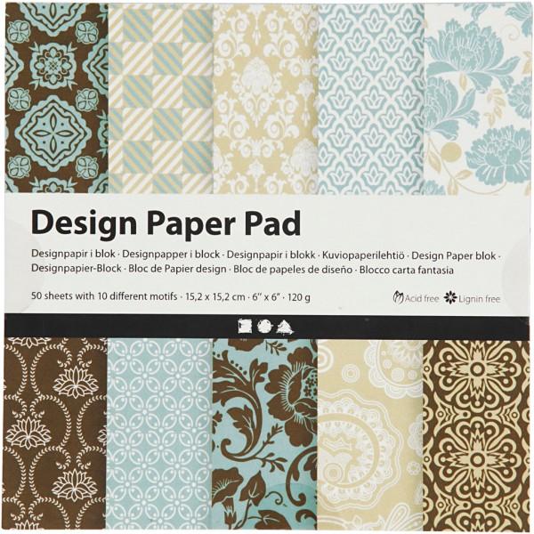 Papier scrapbooking Design - Bleu et marron - 15 x 15 cm - 50 feuilles - Photo n°1