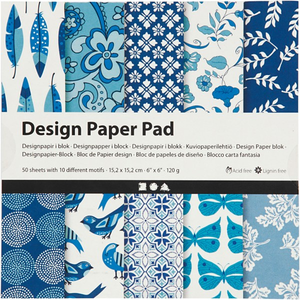 Papier scrapbooking Design - Bleu - 15 x 15 cm - 50 feuilles - Photo n°1