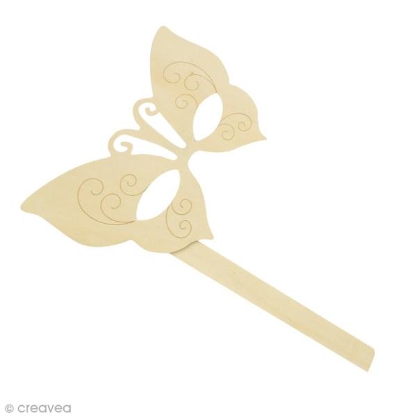 Masque papillon à décorer en bois - 20,5 x 31 cm - Photo n°1