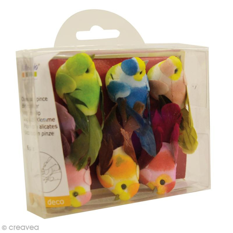 Oiseau miniature en plume - 6 x 2,5 cm - 6 pcs - Photo n°2