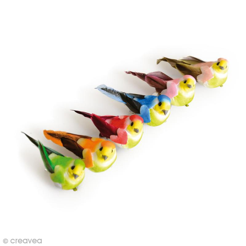 Oiseau miniature en plume - 6 x 2,5 cm - 6 pcs - Photo n°1