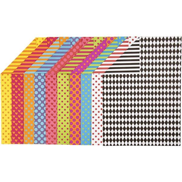 Assortiment de papier cartonné à motifs multicolores - 21 x 29,7 cm - 200 pcs - Photo n°1