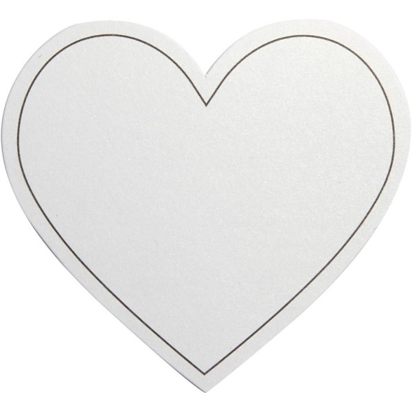 Carte cartonnée Coeur - Blanc - 7,5 x 6,9 cm - 10 pcs - Photo n°1