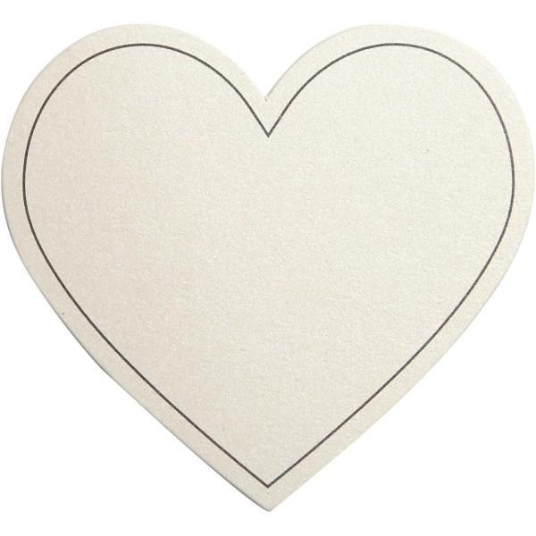 Carte cartonnée Coeur - Blanc cassé - 7,5 x 6,9 cm - 10 pcs - Photo n°1