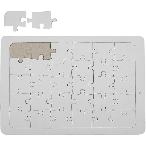 Puzzle à décorer Blanc - 21 x 30 cm - Photo n°1