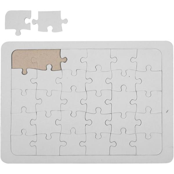 Puzzle à décorer Blanc - 15 x 21 cm - Photo n°1