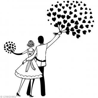 Tampon Mariage - Mariés et coeurs - 6 x 6 cm