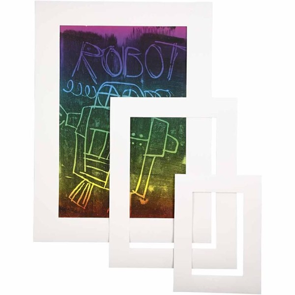 Passe-partout blanc - A3/A4/A5 - 75 pcs - Photo n°1