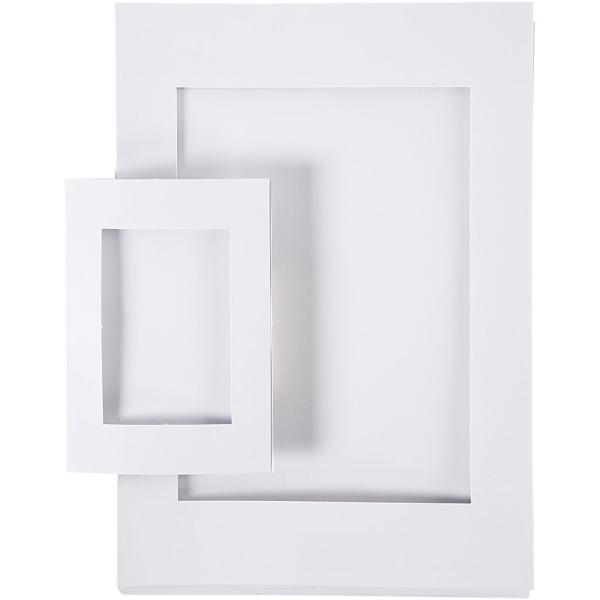 Lot de cadres passe-partout en carton Blanc - A4 et A6 - 120 pcs - Photo n°1
