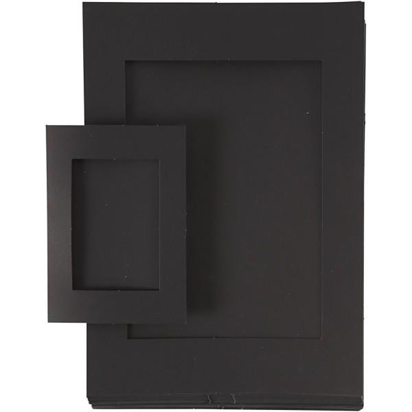 Lot de cadres passe-partout en carton Noir - A4 et A6 - 120 pcs - Photo n°1
