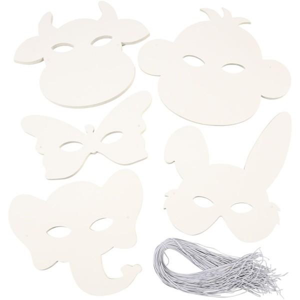 Masques d'animaux, h: 13-24 cm, l: 20-28 cm, 100 pièces, blanc - Photo n°1