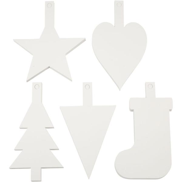 Formes en cartons blanc à décorer et accrocher - Noël - 23,5 cm - 100 pcs - Photo n°1