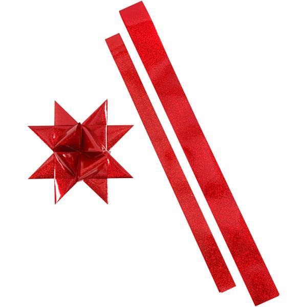 Kit de création d'étoile en papier pour l'extérieur - Rouge pailleté - 16 pcs - Photo n°1