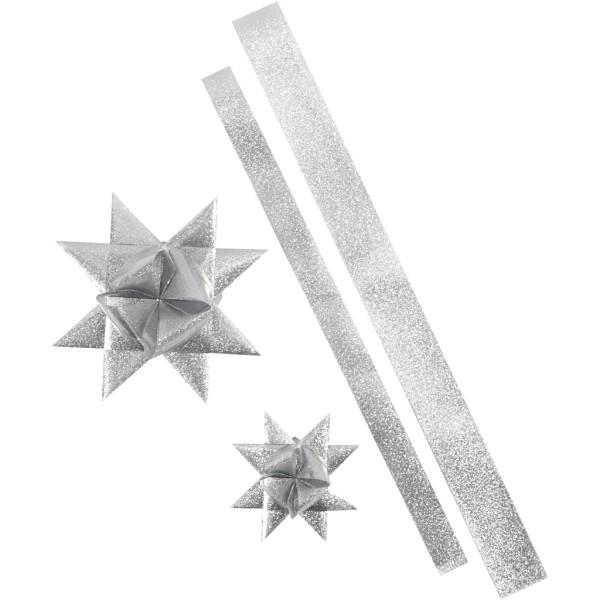 Kit de création d'étoile en papier pour l'extérieur - Argent pailleté - 16 pcs - Photo n°1