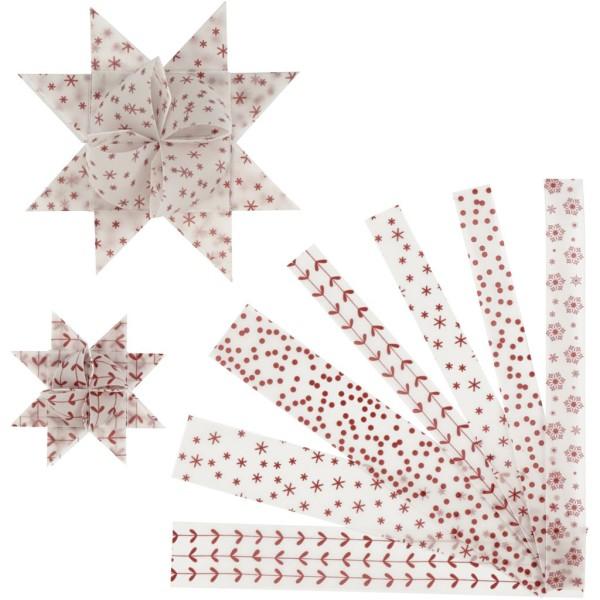 Kit de création d'étoile en papier velours - Blanc et rouge - 6,5 et 11,5 cm - 48 pcs - Photo n°1