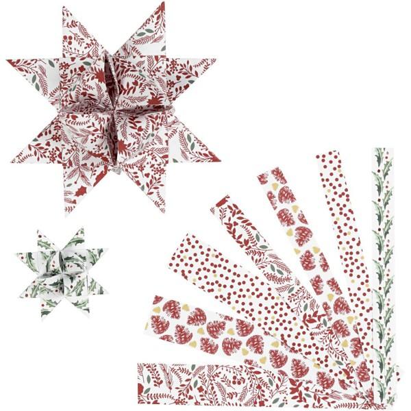 Kit de création d'étoile en papier - Noël - 6,5 et 11,5 cm - 48 pcs - Photo n°1