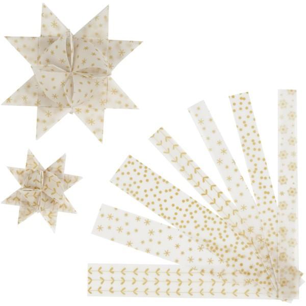Kit de création d'étoile en papier velours - Blanc et or - 6,5 et 11,5 cm - 48 pcs - Photo n°1