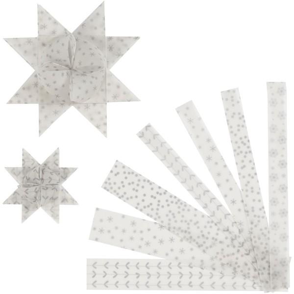 Kit de création d'étoile en papier velours - Blanc et argent - 6,5 et 11,5 cm - 48 pcs - Photo n°1