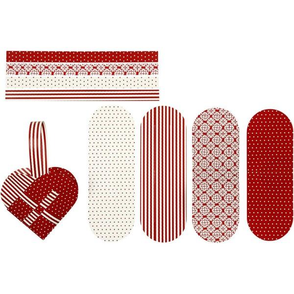 Coeurs tressés 14,5x10 cm - Blanc et rouge - Set pour 4 cœurs - Photo n°1