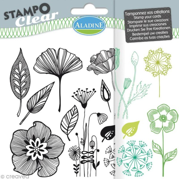 Tampon clear Aladine - Fleurs - Planche 15 x 12,5 cm - 12 Stampo'clear - Photo n°1