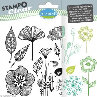 Tampon clear Aladine - Fleurs - Planche 15 x 12,5 cm - 12 Stampo'clear