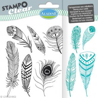 Tampon clear Aladine - Plumes - Planche 15 x 12,5 cm - 10 Stampo'clear