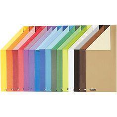 Papier cartonné - A4 - Différentes couleurs - 250 g - 16 feuilles