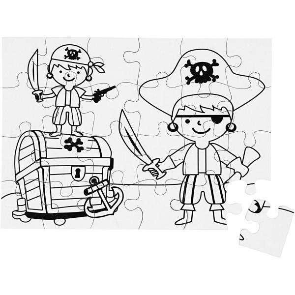 Puzzle à décorer - Pirate  - 15 x 21 cm - 2 x 24 pcs - Photo n°1