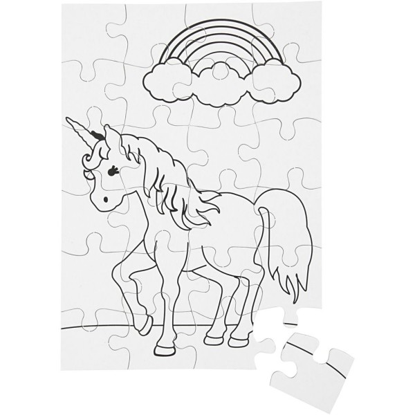 Puzzle à décorer - Licorne  - 15 x 21 cm - 2 x 24 pcs - Photo n°1