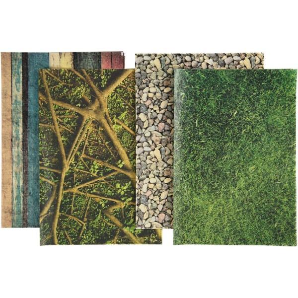 Papier de découpage - Nature - 25 x 35 cm - 8 feuilles - Photo n°1