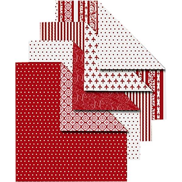 Papier origami - Rouge et blanc - 10 x 10 cm - 50 feuilles - Photo n°1