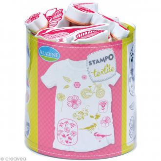 Stampo'textile - Kit tampons et encreur Izink - Fleurs x 14