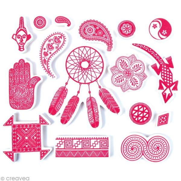 Stampo'textile - Kit tampons et encreur Izink - Ethnic x 16 - Photo n°2
