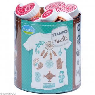 Stampo'textile - Kit tampons et encreur Izink - Ethnic x 16