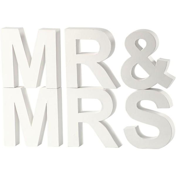 Lettres en carton blanc - Mr & Mrs - 17,5 x 4,5 cm - Photo n°1