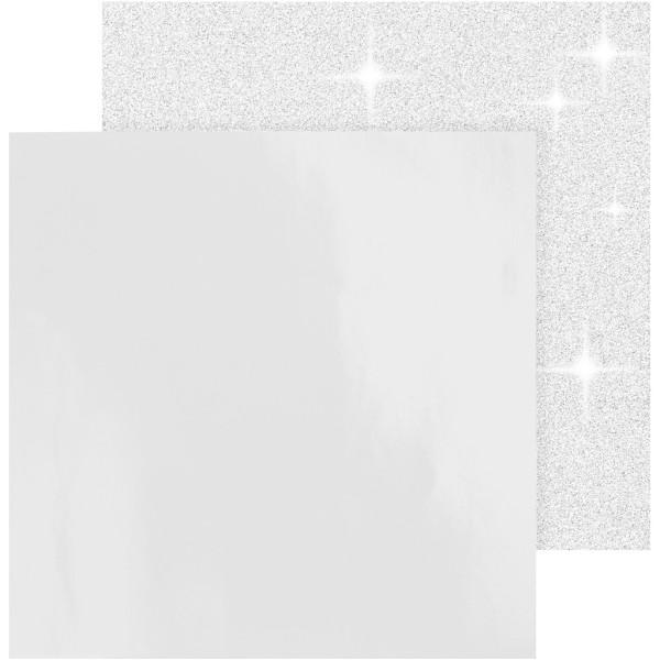 Papier scrapbooking - 30,5 x 30,5 cm - Blanc - 2 pcs - Photo n°1