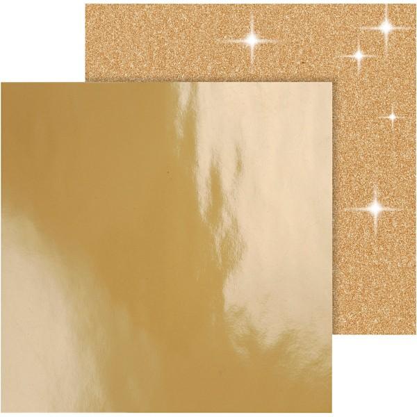Papier scrapbooking - 30,5 x 30,5 cm - Doré - 2 pcs - Photo n°1