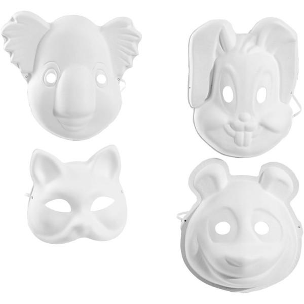 Assortiment de masques en pâte à papier - Animaux - 12 pcs - Photo n°1